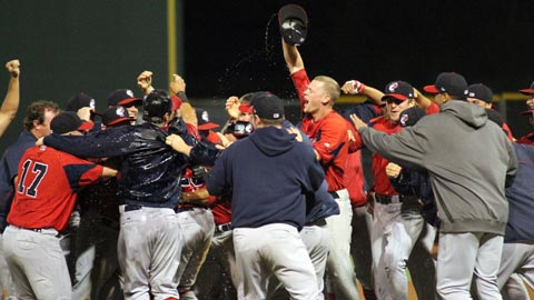 The PawSox celebrate their first Governors' Cup title since 1984.